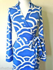 DIANE VON FURSTENBERG NEW JEANNE VINTAGE CLOUDS SILK BLUE WHITE WRAP DRESS 6