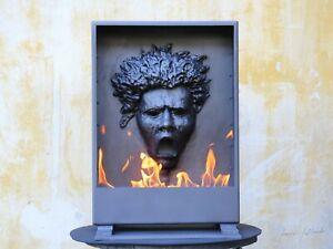 Skulptur geschmiedet Biokamin