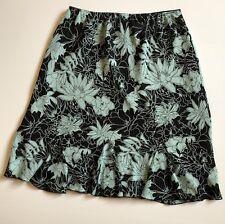 Worthington Size 16 Skirt Floral Pencil Straight Slip On Lined Black Blue Womens