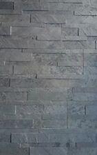 briques en pierre naturelle Autoadhésif 3D 15x60cm anthracite Schistes murale