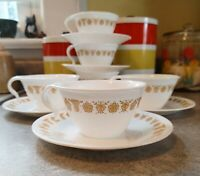 Vintage Corelle Butterfly Gold Coffee/tea Cups With Saucers (6)