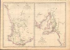 1863  LARGE ANTIQUE MAP - DISPATCH ATLAS- AUSTRALIA - WESTERN, SOUTH
