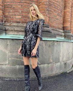 Vampire Wife X H&M HM Short Lace Silver Mini Dress UK 4 6 8 10 12 14 16 36 40 42