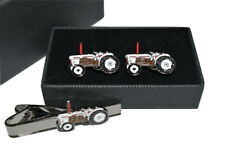 Tractor Cufflinks & Tie Clip Set Enamel Farming GIFT BOXED! White David Brown