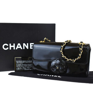 Auth CHANEL CC Camellia Chain Shoulder Bag Patent Leather Black Vintage 691LB246