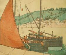 Frances M. Blair; ltd ed woodcut lino block engraving; Penzance Boats 1920s