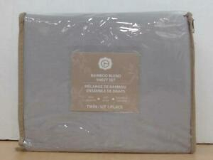 NEW Chc 3-piece Bamboo Blend Bed Sheet Set, Twin, Light Grey