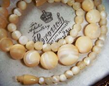 Antique Art Deco MATTE MOTHER OF PEARL Bead HIDDEN CLASP SMALL VINTAGE NECKLACE