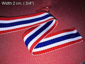 1M x 2.0cm Ribbon Grosgrain Thai Flag Love Thailand Vogue Bunting Sport Fashion
