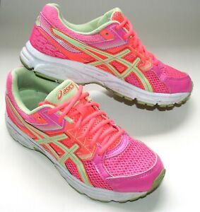 Women's ASICS GEL-Contend 3 Fluro Pink Orange Green Running Trainers EU39 US6