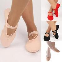 Adult Child Pure Color Canvas Ballet Dance Shoes Pointe Gymnastics Slippers#