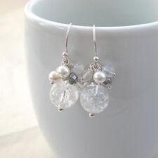 925 Silber Cluster Ohrringe Bergkristall, Hänger weiß 925er, Brautschmuck f221