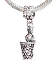 Basketball Hoop Ball Sports Net Dangle Bead for Silver European Charm Bracelet