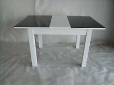 Primo Extending Black & White Dining Table Gloss Finish MDF with Glass Top Sale