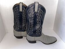 Vintage Tony Lama  Men's Gray/Navy Leather Cowboy Western Boots 8056 Tall 9 1/2B