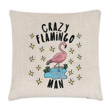 PAZZO FENICOTTERO MAN STELLE LINO copricuscino cuscino - divertente animale Rosa