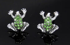Adorable New Frog Green Austrian Crystal Silver Tone Stud Earrings