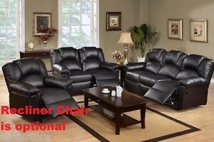 Living Room Motion Sofa Motion Loveseat Two Piece Black Bonded Leather Furniture