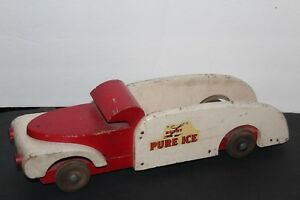 NICE VINTAGE 1940's BUDDY L WOODEN PURE ICE TRUCK