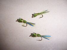 OLIVE Damsel Destroyer Nugget Nymph Fishing Fly size 14 + blue flash Salmoflies