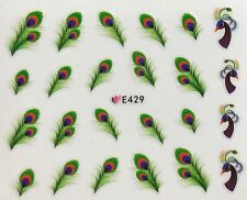 Nail Art 3D Decal Stickers Peacock with Peacock Feathers E429