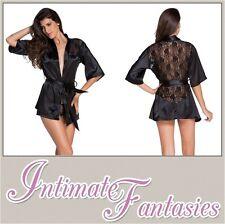Sexy Short Satin Black Chemise Nightdress Lingerie Valentines Size 8 10 12