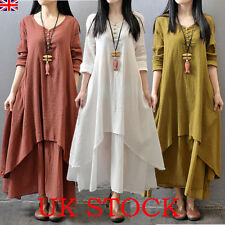 Retro Women Boho Long Sleeve Cotton Linen Kaftan Maxi Irregular Dress Plus 6-22
