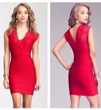 NWT bebe firey red deep v neck lace bandage club party top dress M medium 6