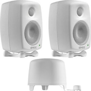 Genelec 6010A Active Monitor Speakers & 5040A Subwoofer White (6010B & 5040B)