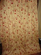 WAVERLY SONATA HARBOR HOUSE GOLD RED GREEN FLORAL FABRIC SHOWER CURTAIN 69X70