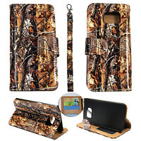 Wallet Camo Brown Oak For Samsung Galaxy Note 5 N920A Flip ID Leather Case Cover