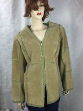 Coldwater Creek Genuine Womens Leather Suede Button Front Jacket Size L