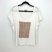 Lucky Brand Plus Size 2X White Scoop Neck US Flag Stitch Short Sleeve Tee Shirt
