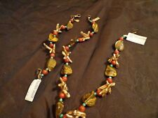 BRACELET/NECKLACE SET CORAL,TURQUOISE.TIGER EYE STERLING -GREAT FOR CRUISE/BEACH