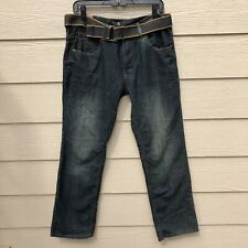 FUSAI - Relaxed Fit Straight Leg Jeans With BELT - Men Size 34 x 30