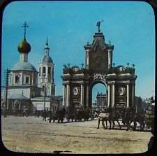 Glass Magic Lantern Slide THE RED GATE MOSCOW C1890 PHOTO RUSSIA