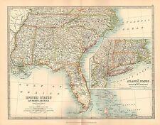 1911 LARGE VICTORIAN MAP UNITED STATES SOUTH EASTERN FLORIDA GEORGIA BOSTON etc