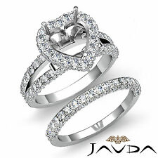 Pave Diamond Engagement Ring Heart Bridal Set 14k Gold White Semi Mount 2.75ct