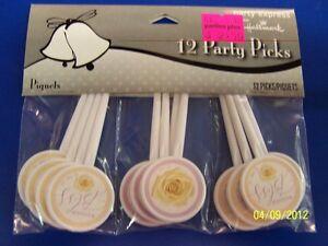 Love in Bloom Rose Floral Bridal Shower Wedding Plastic Food Party Picks