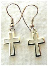 Dangle earrings - 15mm silver colour metal cross