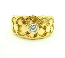 Nugget Style Men's Ring Size 8.5 14k Yellow Gold 0.33 Carat Diamond