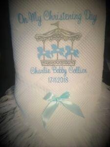 Personalised Baby Blanket shawl christenings CAROUSEL  Merry go round DESIGN