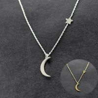 Moon Star Pendant Silver Simple Necklace Women's Gold Long Choker Jewelry Chain