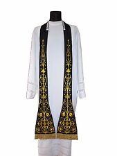 Black Roman Clergy Stole SH4-CZ Étole Noire Schwarz Stola Nera Estola Negra