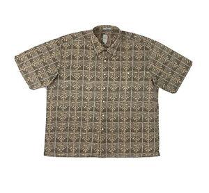 Burma Bibas Button Down Shirt Men's XXL Short Sleeve Beige Hawaiian Design