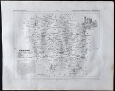 1833 - Creuse - Carte ancienne du département - Gravure Monin & Ales