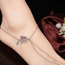 Gift Bead Foot Multi Link New Leaf Layer Toe Chain Anklet Turquoise Jewelry