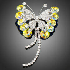 Made With Sparkly Yellow White Swarovski Crystal Rhinestone Butterfly Brooch Pin