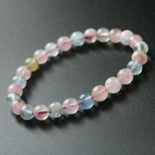 Natural Colorful Morganite Gemstone Clear Women Round Beads Bracelet 7mm AAAA