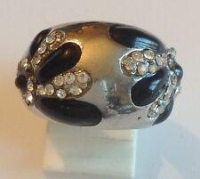 bague rétro métal couleur argent poli déco émail noir cristaux diamant taille 56